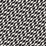 Wavy Diagonal Lines. Vector Seamless Black and White Pattern.