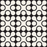 Vector Seamless Black And White Rounded Cross Square Pattern