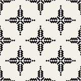Vector Seamless Black And White Simple Cross Ethnic Square Pattern