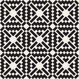 Vector Seamless Black And White Simple Cross Square  Ethnic Pattern