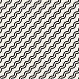 Vector Seamless Black And White Simple Diagonal Wavy Lines Pattern