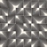 Vector Seamless Black And White Square Line Rays Irregular Geometric Pattern