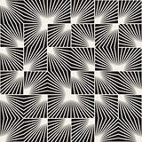 Vector Seamless Black And White Square Line Rays Irregular Geometric Pattern