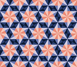 Vector Seamless Blue Pink Navy Hexagonal Triangles Rhombus Pattern
