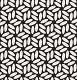 Vector Seamless Black  White Rounded Ellipses Hexagonal Floral Pattern