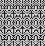 Vector Seamless  Black and White Rounded Line Geometric Hexagonal Pavement Pattern