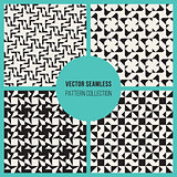 Vector Seamless  Black and White Rectangle Triangle Square Grid Simple Geometric Pattern Set