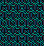 Vector Seamless Isometric Triangle Cube Hexagonal Pattern in Purple Blue and Teal Colors