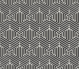 Vector Seamless  Black and White Stripes Line Geometric Hexagonal Optical Illusion Pattern