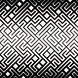 Vector Seamless  Black and White Stripes Line Geometric Maze Square Pattern