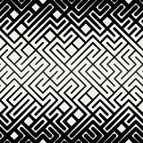 Vector Seamless  Black and White Stripes Line Geometric Maze Square Pattern