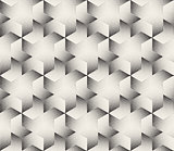 Vector Seamless  Black and White Stripes Stippling Halftone Dots Hexagonal Triangular Pattern