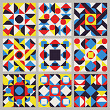 Set of Nine Vector Seamless Blue Red Yellow White Color Retro Geometric Ethnic Square Quilt Pattern Collection
