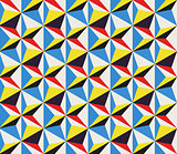 Vector Diagonal Movement Seamless Geometric Triangles Pattern in Red Yellow Blue and White Color