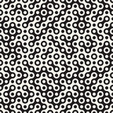 Vector Seamless Black and White Circles Halftone Truchet Pattern