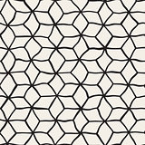 Vector Seamless Black and White Hand Drawn Rhombus Grid Pattern