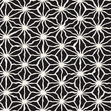Vector Seamless Black and White Hand Drawn Triangle Star Line Grid Pattern