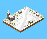 Isometric Snowy Village