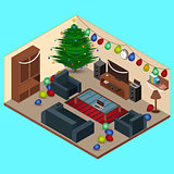 Isometric Christmas Room Interior