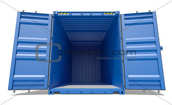 Blue open shipping container