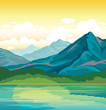 Summer landscape - mountains, forest, lake.