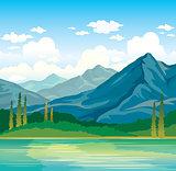 Summer landscape - mountains, forat, lake.