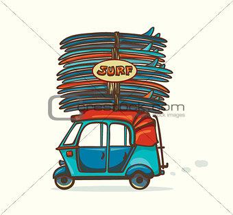 Auto rickshaw and surfboard. Surfing illustration.