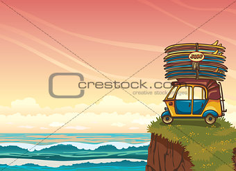 Auto rickshaw with surfboards and ocean. Surfing.