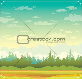 Autumn landscape with forest and grass.