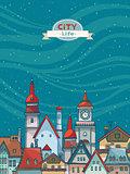 City view landscape. Urban vector.