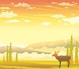 Deer and autumn landscape. wild nature.