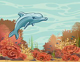 Cartoon dolphin and coral reef. Underwater vector.