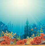 Silhouette of castle and coral reef.
