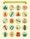 Set of icons - camping equipment.