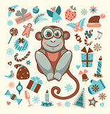 Monkey and set of new year elements.