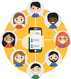 Hand holding a cell phone with  contacts of people concept. Choose person. Contact list, phonebook icon. Group  . Call  friend . Social Communication Network,   friends.Vector