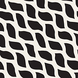 Vector Seamless Black and White Hand Drawn Wavy Shapes Pattern