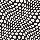 Vector Seamless Irregular Polka Dots Distorted Pattern