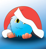 monster Cute cartoon blue christmas hat