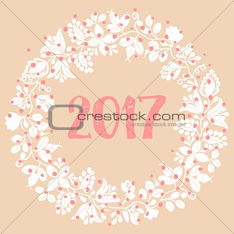 2017 white vector wreath on pastel background