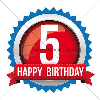 Five years happy birthday badge ribbon