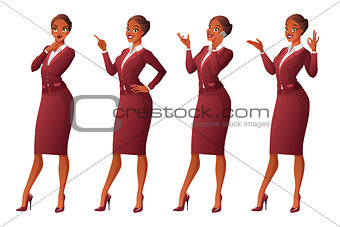 African business woman in different poses. Vector set.
