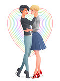 Cheerful beautiful lesbian couple. Vector illustration.