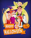 Halloween vampire, witch, devil, pirate, fairy. Vector family with text.