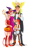 Cartoon vector Halloween family. Vampire, witch, devil, pirate and fairy.