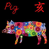 Chinese Zodiac Sign Pig with colorful flowers