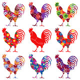 Set of nine colourful Roosters
