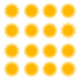 Icons of the sun, vector illustration.