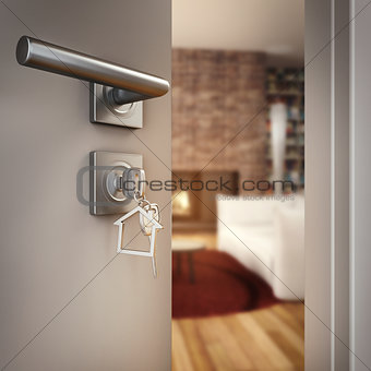 3D Rendering open home door