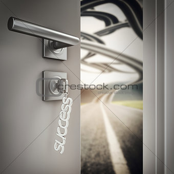 3D Rendering open success door